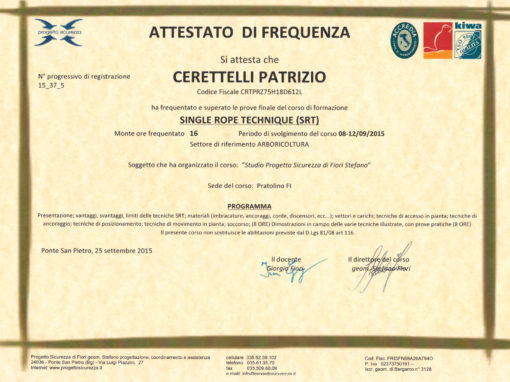 Certificato SRT Single Rope Technique di Patrizio Ceretelli