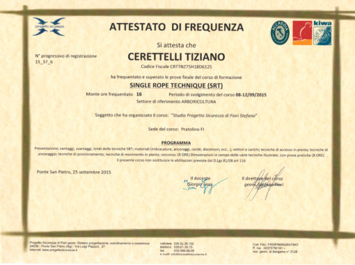 Certificato SRT Single Rope Technique di Tiziano Ceretelli