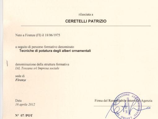 Attestato Formazione Tecniche di Potatura degli Alberi Ornamentali di Patrizio Ceretelli