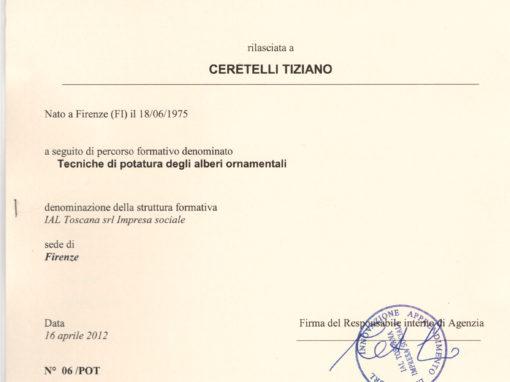 Attestato Formazione Tecniche di Potatura degli Alberi Ornamentali di Tiziano Ceretelli