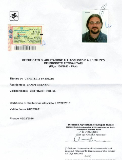 Certificato Prodotti Fitosanitari – Patrizio Ceretelli