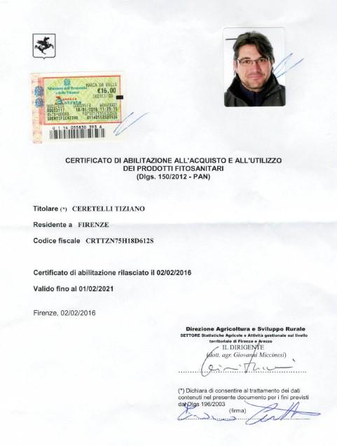 Certificato Prodotti Fitosanitari – Tiziano Ceretelli